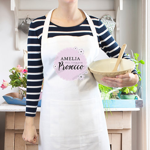 Personalised Lilac Lace 'Will Cook for Prosecco' White Apron (PMC)