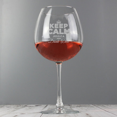 Personalised Keep Calm Bottle of Wine Glass (PMC)