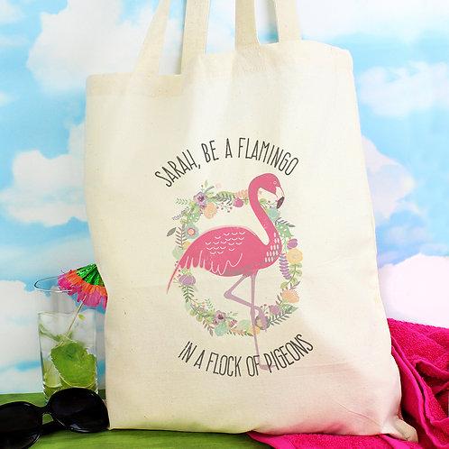 Personalised Flamingo Cotton Bag (PMC)