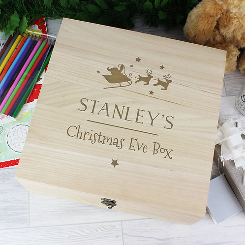 Personalised Large Wooden Christmas Eve Box (PMC)