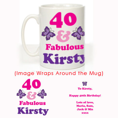 40 and Fabulous: Personalised Mug