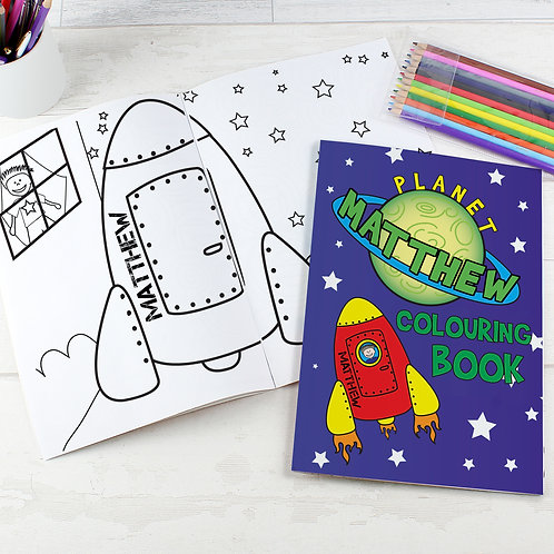 Personalised Space Colouring Book with Pencil Crayons (PMC)