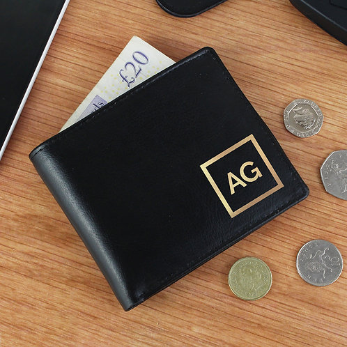 Personalised Gold Initials Leather Wallet (PMC)