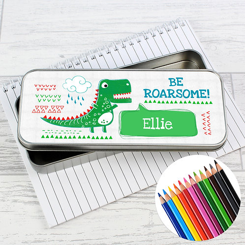 Personalised 'Be Roarsome' Dinosaur Pencil Tin with Pencil Crayons (PMC)