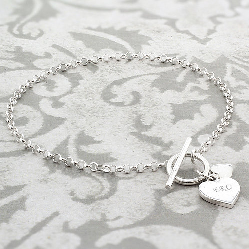 Personalised Hearts T-Bar Bracelet (PMC)