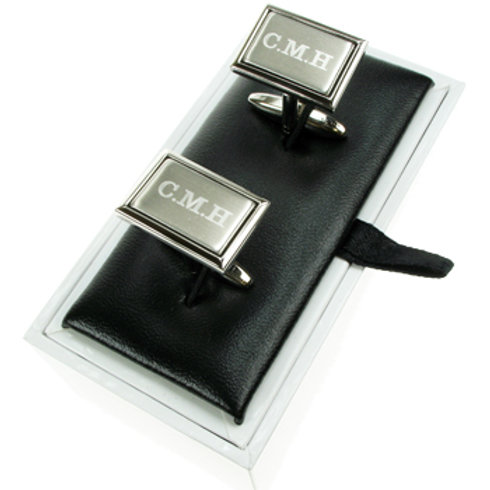 40th Birthday Engraved Brushed Silver Cufflinks