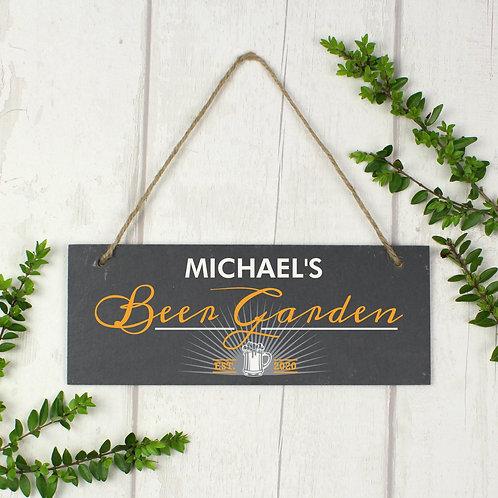 "Personalised """"Beer Garden"""" Printed Hanging Slate Plaque"