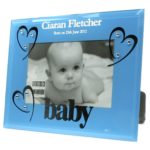 Blue Glass Baby Boy Birth Photo Frame