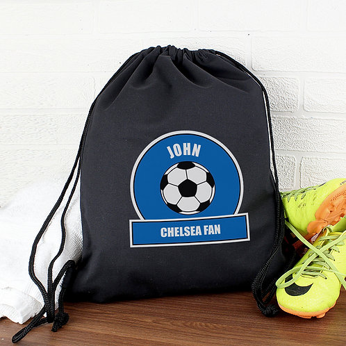 Personalised Dark Blue Football Fan Swim & Kit Bag (PMC)