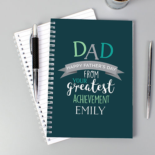 Personalised Dad's Greatest Achievement A5 Notebook (PMC)
