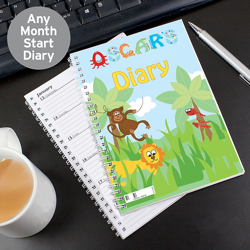 Personalised Blue Animal Alphabet - A5 Diary (PMC)