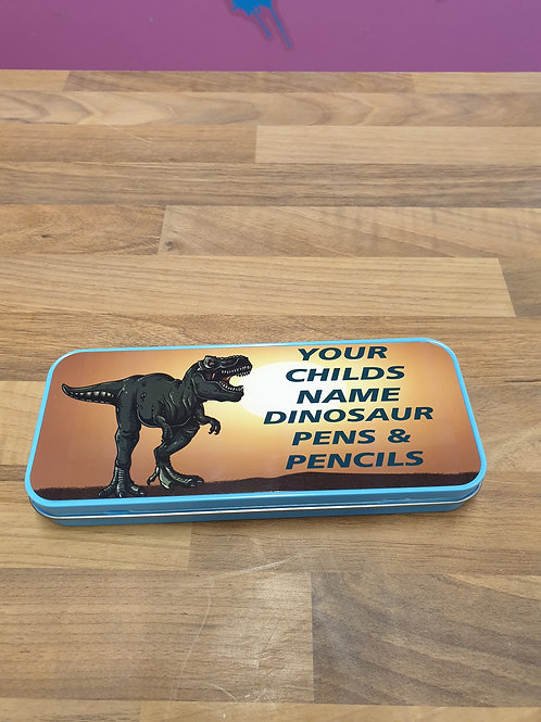 Personalised Dinosaur Metal Pencil case