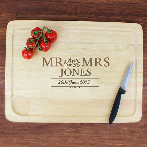 Personalised Mr & Mrs Meat Carving Board (PMC)