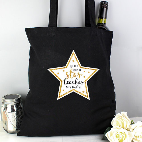 Personalised Star Teacher Black Cotton Bag (PMC)