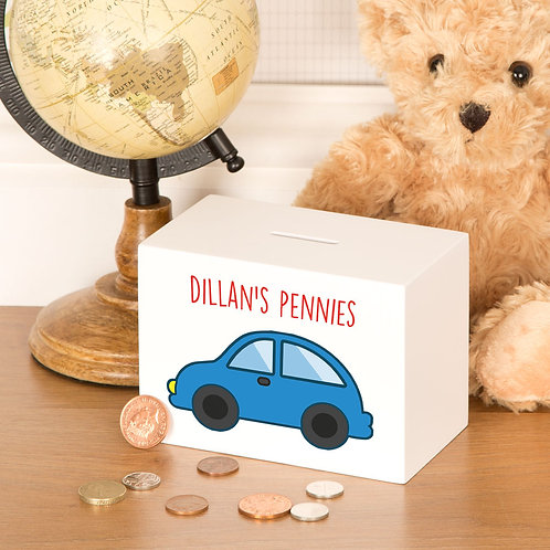 Baby Boy Car Design Customised Money Box (PTG)