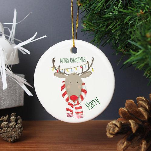 Personalised Retro Reindeer Round Ceramic Decoration (PMC)