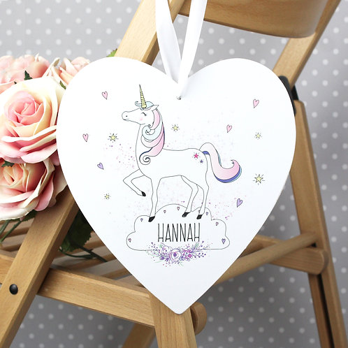 Personalised Unicorn 22cm Large Wooden Heart Decoration (PMC)