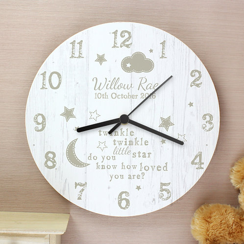 Personalised Twinkle Twinkle Shabby Chic Large Wooden Clock (PMC)