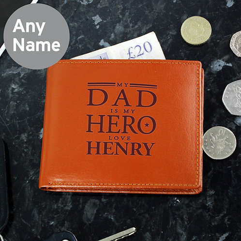 Personalised My Dad is My Hero Tan Leather Wallet (PMC)