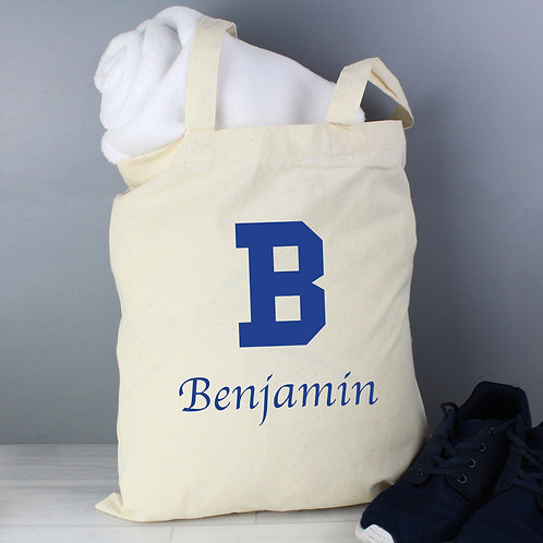 Personalised Blue Initial Cotton Bag (PMC)