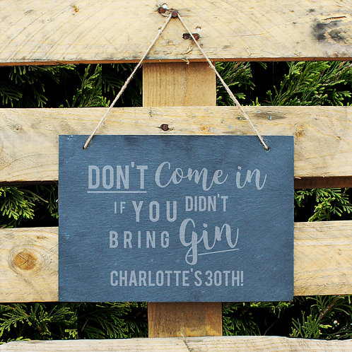 Personalised Gin Large Hanging Slate Sign (PMC)