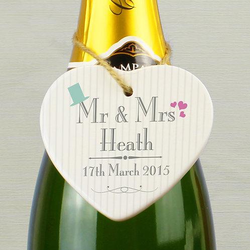 Personalised Decorative Wedding Mr & Mrs Ceramic Heart (PMC)