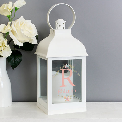 Personalised Floral Bouquet White Lantern (PMC)