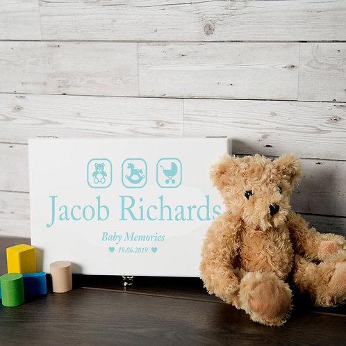 Blue Baby Boy Memory Box with Teddy, Rocking Horse and Pram