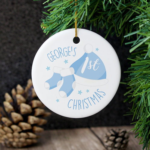 Personalised 1st Christmas Blue Round Ceramic Decoration (PMC)