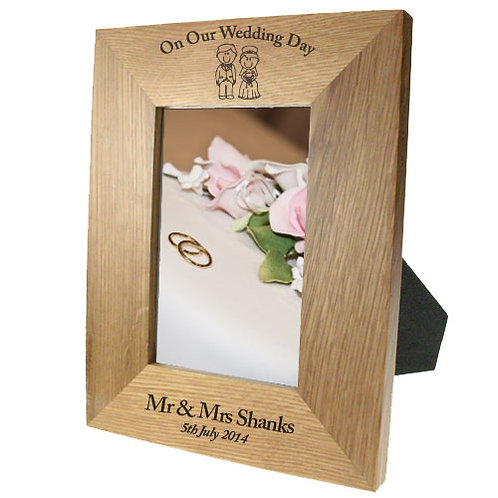 Portrait Oak Frame: Bride & Groom