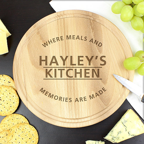Personalised 'Meals and Memories' Round Chopping Board (PMC)
