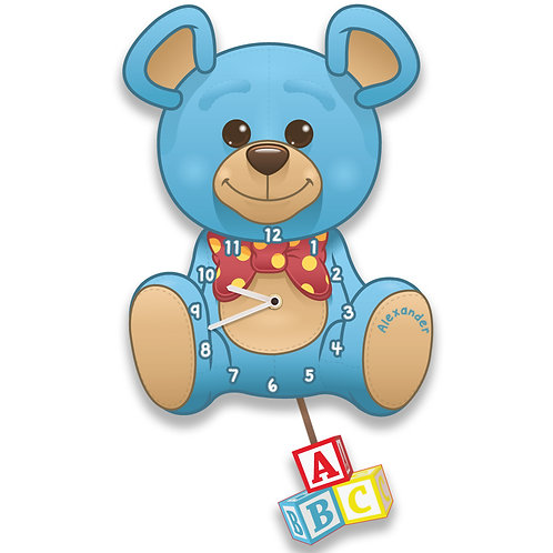 Blue Teddy Bear Wall Clock for a Boy (PTG)