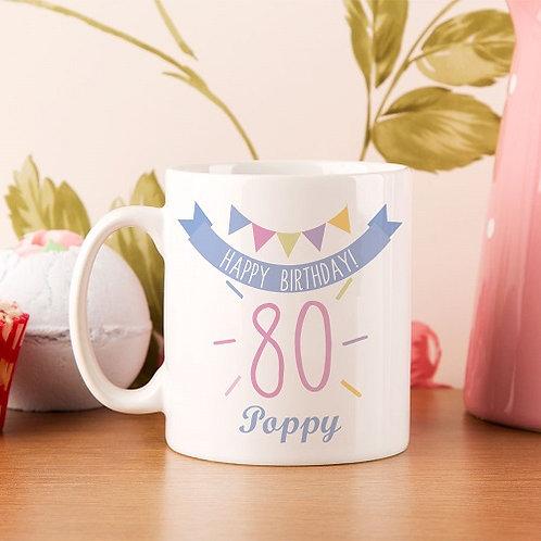 80th Birthday Bunting Mug For Her