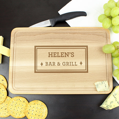 Personalised Bar & Grill Large Chopping Board (PMC)