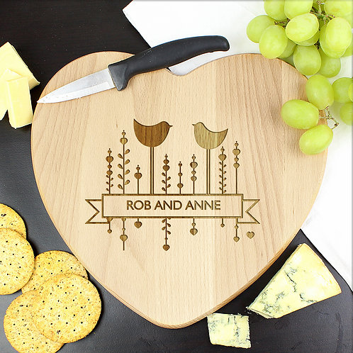 Personalised Decorative Bird Heart Chopping Board (PMC)