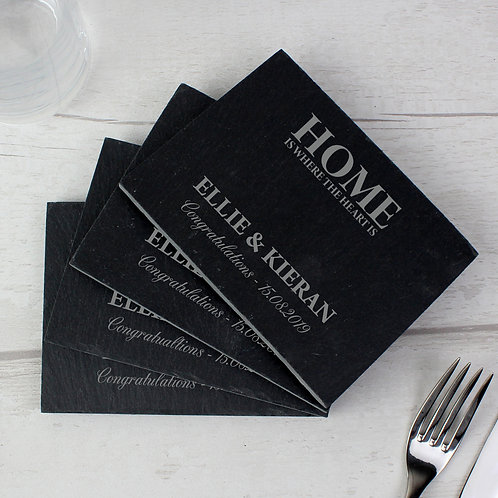 Personalised Home 4 Pack of Slate Coasters (PMC)