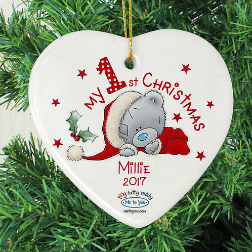 Personalised Me to You My 1st Christmas Ceramic Heart Decoration (PMC)