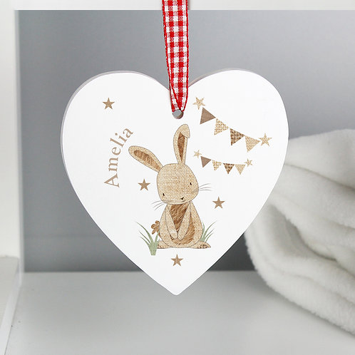 Personalised Hessian Rabbit Wooden Heart Decoration (PMC)