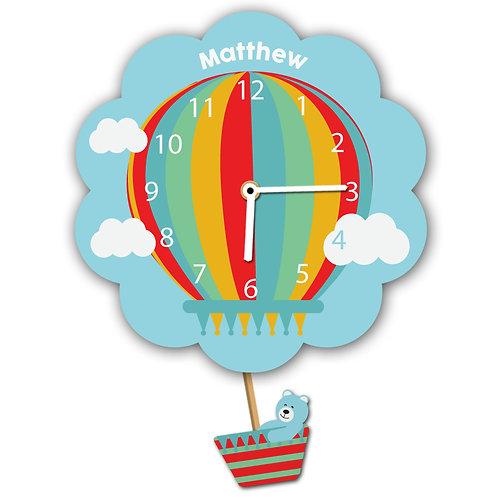 Blue Hot Air Balloon Pendulum Clock (PTG)