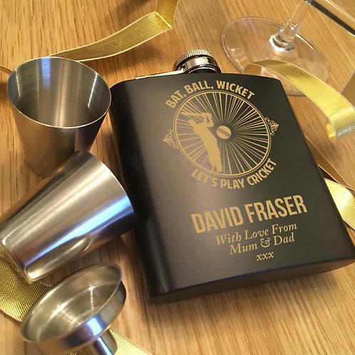 Black Hip Flask Gift Set with Cricket Design