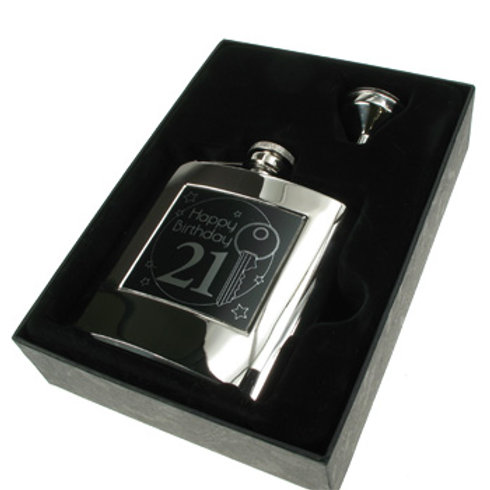21st Birthday Hip Flask Gift Set