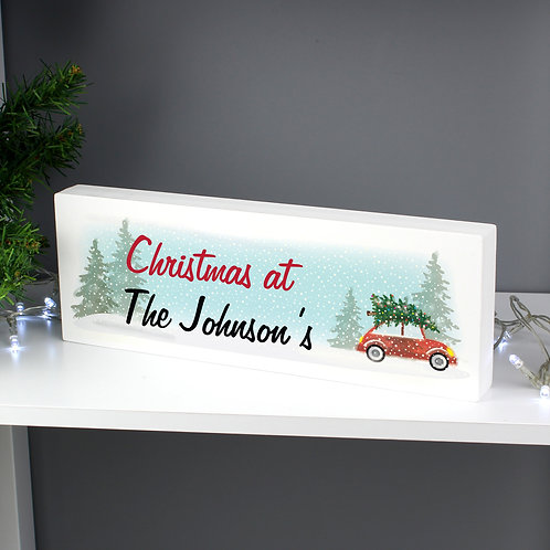 Personalised 'Driving Home For Christmas' Wooden Block Sign (PMC)