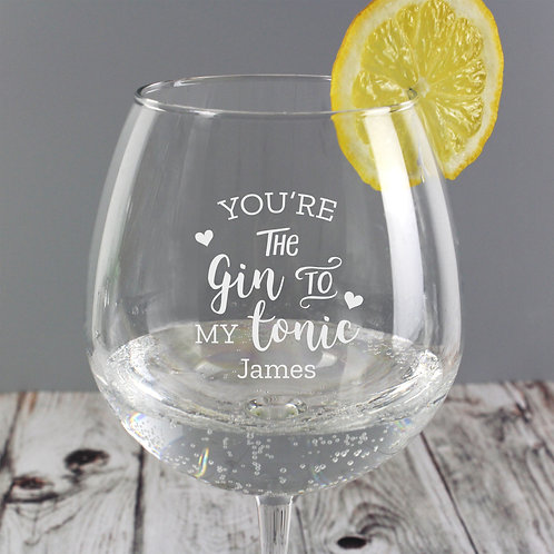 Personalised 'Gin to My Tonic' Gin Balloon Glass (PMC)