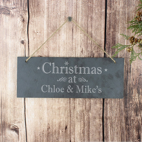 Personalised Christmas Hanging Slate Plaque (PMC)