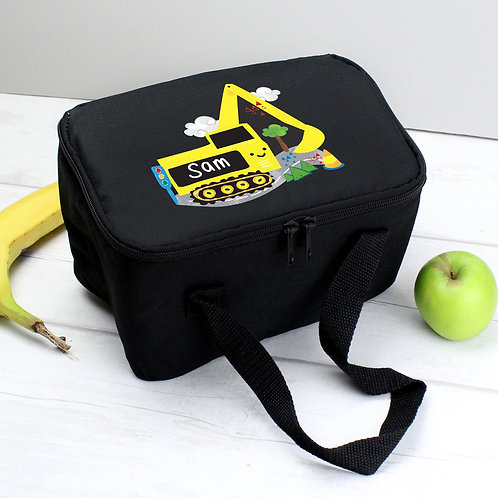 Personalised Digger Black Lunch Bag (PMC)