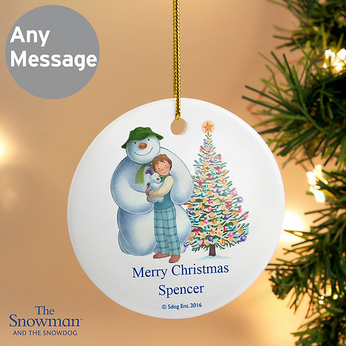 Personalised The Snowman and the Snowdog Friends Round Ceramic Decoration (PMC)