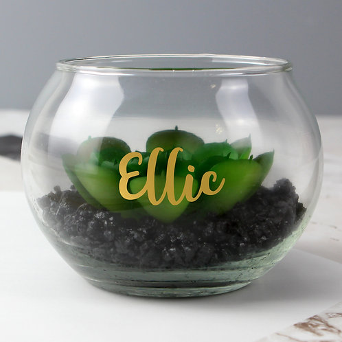 Personalised Gold Name Glass Terrarium (PMC)