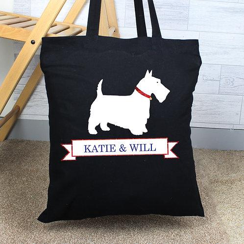 Personalised Scottie Dog Black Cotton Bag (PMC)