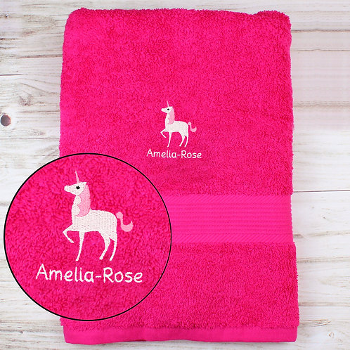 Personalised Unicorn Bright Pink Bath Towel (PMC)
