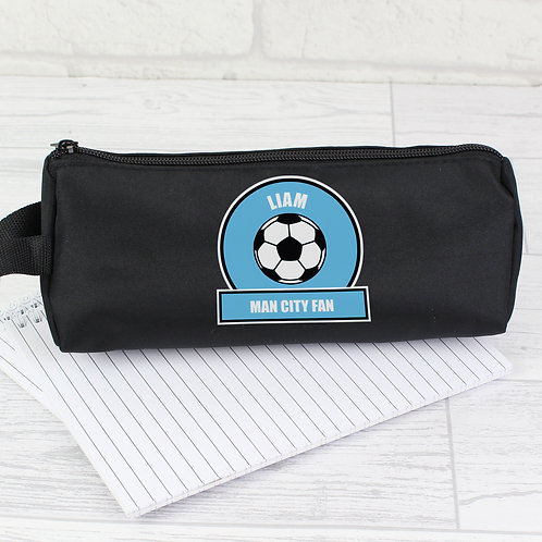 Personalised Sky Blue Football Fan Pencil Case (PMC)